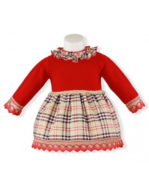 a40092d87289 Miranda Girls Red & Beige Knitted Style Dress - Spanish