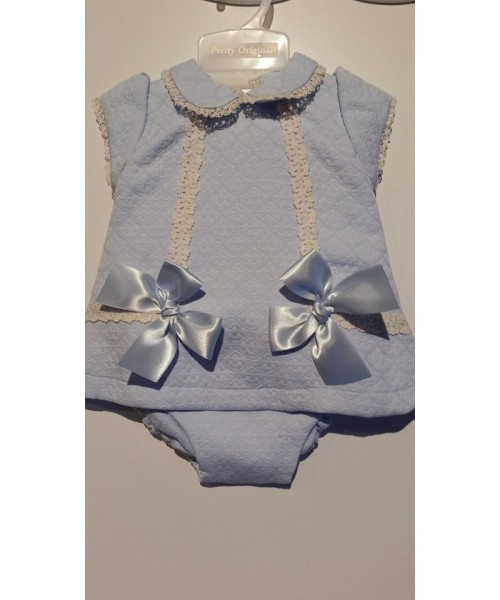 Pretty Originals Girls Blue & Cream Dress and Pants MT751