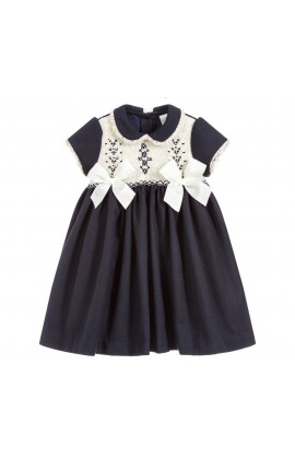 bcd4aaf68e17d Pretty Originals Girls Navy Smocked Dress With Bows MC1151