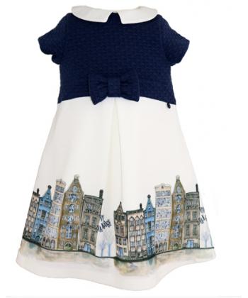 Abella Cream & Navy Girls Dress