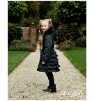 Le Chic Charcoal Frill Ruffle Puffa Coat With Hood & Fur Collar